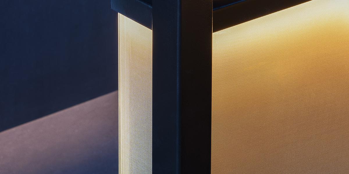 SEFAR mesh laminated glass PR Gold 140 50. Jackalope Hotel by Carr Design close up