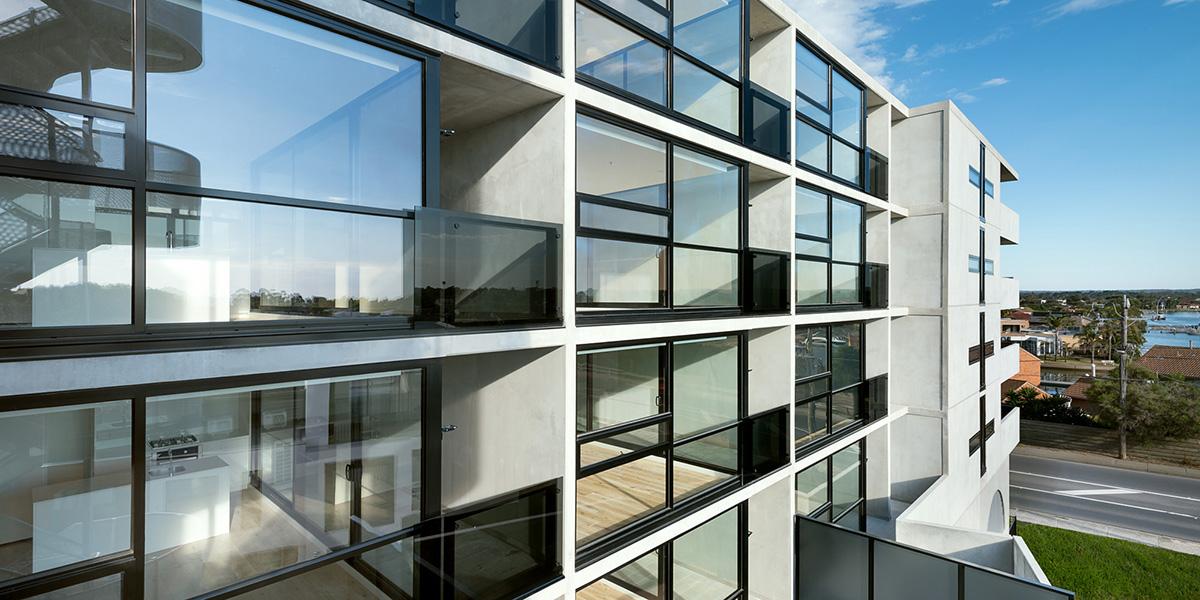 Optitherm. Pier 1 apartments external close up. Photography by Emma Cross