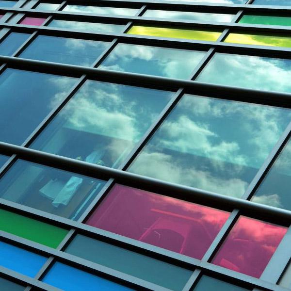 Coloured laminated glass facade